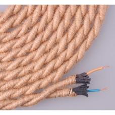 Cable de cuerda de yute trenzado  2x0,75 aprox  ø10mm  euro/mts
