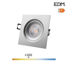 Downlight led empotrable 5w 380 lumen 4.000k cuadrado marco cromo edm