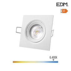 Downlight led empotrable 5w 380 lumen 6.400k cuadrado marco blanco edm