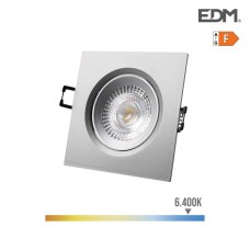 Downlight led empotrable 5w 380 lumen 6.400k cuadrado marco cromo edm