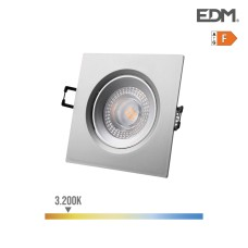 Downlight led empotrable 5w 380 lumen 3.200k cuadrado marco cromo edm