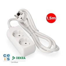 Base multiple 2 tomas schuko  1,5 mts. 3x1,5mm edm