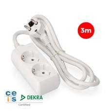 Base multiple 2 tomas schuko  3 mts. 3x1,5mm edm