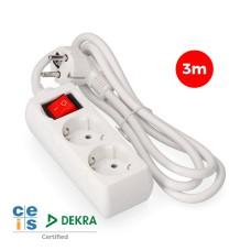 Base multiple 2 tomas schuko  con interruptor 3 mts. 3x1,5mm edm