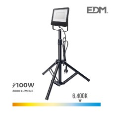 Foco proyector led  con tripode 100w 6400k edm