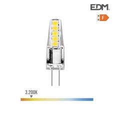 Bombilla bi-pin 12v led 2w 180 lumens 3.200k luz calida serie silicona edm