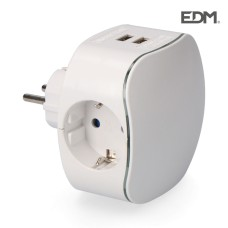 Adaptador triple schuko con 2 tomas usb 2100mah perfil iluminado retractilado edm